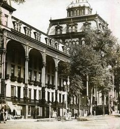 The exterior of The Grand Union Hotel, Saratoga Springs, NY circa (Times Union Archives) Saratoga had the two largest hotels in the world at one point. Saratoga Springs New York, Victorian Architecture, Old Postcards, Grand Hotel, Historical Photos, Small Towns, Great Places, New York City, Exterior