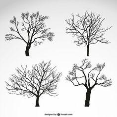 Winter Bäume Silhouetten