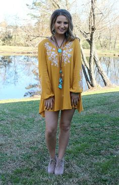 Unforgettable Love Floral Embroidery Mustard Tunic – Giddy Up Glamour Boutique