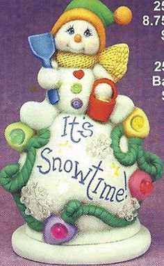 "Ceramic Bisque Ready to Paint Snowboy ""It's Snowtime"" electric incl."