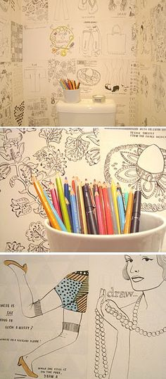 Love this for a wall in the kitchen or For a kids room. I'd tape colouring book pages on the wall. Bathroom Wall Art, Bathroom Kids, Design Bathroom, Basement Bathroom, Book Wallpaper, Paintable Wallpaper, Fashion Wallpaper, Interactive Exhibition, Scrapbook Background