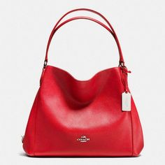 Coach Edie Shoulder Bag 31 ($325) ❤ liked on Polyvore featuring bags, handbags, shoulder bags, red, cell phone purse, coach handbags, genuine leather purse, genuine leather handbags and coach purses