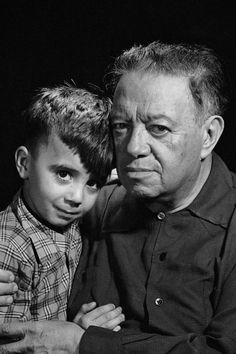 Diego Rivera and a boy who is thought to be his grandson. Mexico. 1952.