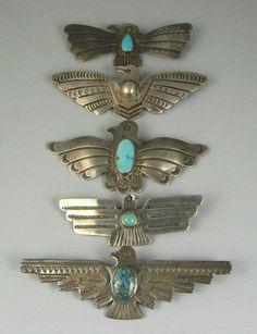 Navajo Fred Harvey era Thunderbird pin collection