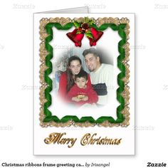 Christmas ribbons frame greeting card for photo