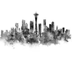 Seattle Black And White Framed Art Print by Monn - Vector Black - Black And White Coffee, Black And White Frames, Black And White Painting, Skyline Painting, Cityscape Art, White Framed Art, Minimalist Architecture, White Acrylics, City Art