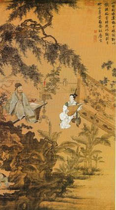 Tang Yin(1470-1523) . National Palace Museum, Taipei. 明/唐寅/陶穀贈詞 軸/絹本/設色畫 縱 168.8 公分 橫 102.1 公分 題識: 一宿姻緣逆旅中,短詞聊以識泥鴻。當時我作陶承旨,何必尊前面發紅。