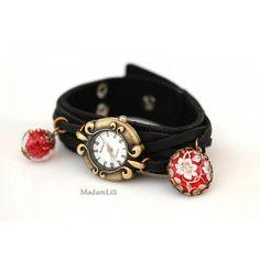 MadamLili - skórzany zegarek z zawieszką