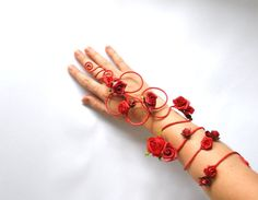 red roses on red vine arm cuff slave bracelet by InMyFairyGarden