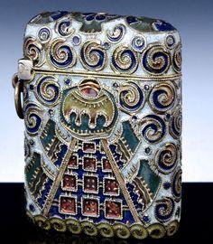 IMPORTANT FABERGE RUSSIAN SILVER ENAMEL VESTA MATCH SAFE CASE FEODOR RUCKERT #Faberge