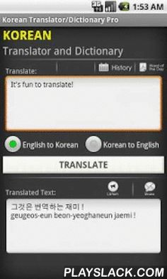 Korean English Translator Free  Android App - playslack.com ,  Talking Translator and offline Dictionary!- Supports many languages - Italian, French, German, Chinese, Japanese, etc.- Includes offline dictionary- Word of the day- Sentence correction!Speak a sentence and hear the translation!- Voice recognition for all major languages (new feature)- EMail or SMS the translation- Copy to paste in other apps- Fetch incoming SMS to auto translate! (Trial for 50 uses in this free version)…