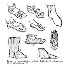 Slavic shoes form Opole (Poland) (1-5), Novgorod (6-8) and Stará Ladoga (9)