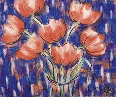 Rote Tulpen - Wassertempera und Tusche auf Bütten - Werke - Christian Rohlfs - Künstler - Galerie Ludorff