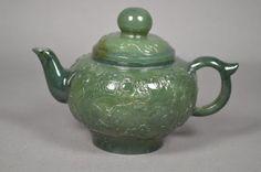 Chinese green jade teapot  (lot #110088).