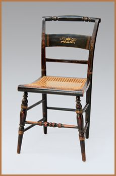 One Of A Set Of Five Caned Hitchcock Chairs With Painted Details And  Bronzed Stenciled Decoration