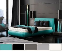 black - turquoise love the color scheme, not sold on the bed