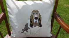 Cute Handmade Applique Cushion with Bassett Hound Dog Detail £48.00