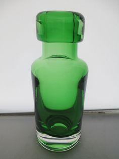 1960 s SKRUF SWEDISH GLASS BENGT EDENFALK GREEN BOTTLE SHAPED 6.5 VASE