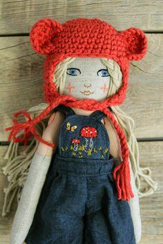 Handmade doll. Fabric doll. Cotton and linen fabrics. Hand embroidery. Crochet bonnet.