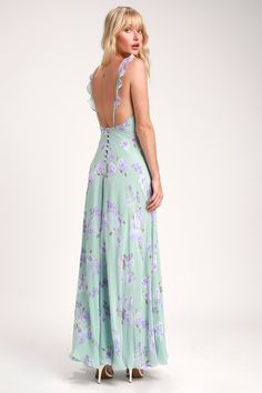 7e7dae4764822 Lulus | Meteoric Rise Sage Green Floral Print Maxi Dress | Size Large |  100% Polyester