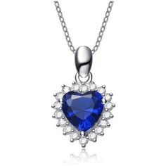 Cubic Sterling Silver Rhodium Plated Sapphire Heart Shape Drop Pendant ($21) ❤ liked on Polyvore featuring jewelry, pendants, jewelry & watches, necklaces, silver, heart shaped jewelry, sterling silver sapphire jewelry, sterling silver charms pendants, sterling silver jewellery and sapphire jewelry