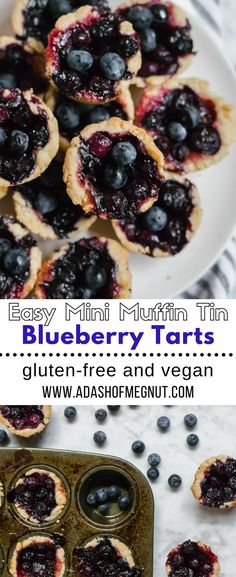 These easy mini blueberry tarts are made with a sugar cookie crust and bursting with fresh blueberry flavor! Made in a muffin-tin, they are a great gluten-free and vegan dessert recipe that is devoured in just one bite! Perfect for any potluck or get together this season. #glutenfree #vegan #dairyfree #blueberrypie #tart #berries #fruit via @adashofmegnut
