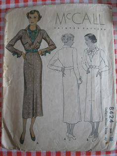 McCall 8424 | ca. 1935 Ladies' & Misses' Dress