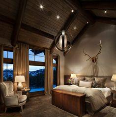 Spacieuse et belle chambre rustique au panorama enneigé