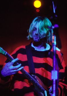 Kurt Cobain at Roseland Ballroom (New Music Seminar), New York, NY. July 23rd,1993. Kurt overdosed on heroin minutes before the show, but was revived and able to play.