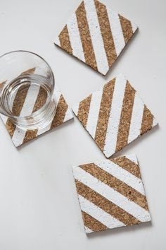 These striped coasters cane be made using with just leftover cork and paint.