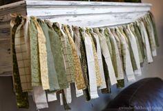 DIY Fabric Garland - A Wonderful Thought Cloth Garland Diy, Fabric Strip Garland, Lace Garland, Fabric Strips, Garlands, Garland Ideas, Bunting Garland, Diy Bow, Diy Ribbon