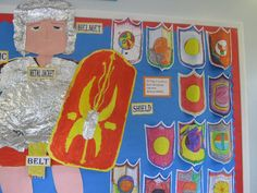 A super Roman Shields (Year classroom display photo contribution. Great ideas for your classroom! Teaching Latin, Teaching History, Primary Teaching, Teaching Ideas, School Displays, Classroom Displays, Romans Ks2, Roman Latin, Roman Shield