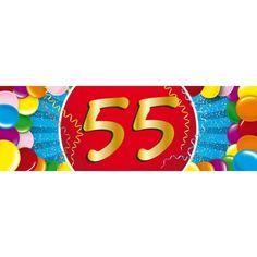55 jaar verjaardag sticker. Een vrolijk gekleurde sticker met het cijfer 55. Het formaat van deze sticker is 19,6 x 6,5 cm.