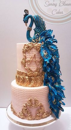 It is a beautiful cake but the blue just doesn't match the cake, but that is just my opinion. Unique Wedding Cakes, Unique Cakes, Beautiful Wedding Cakes, Gorgeous Cakes, Pretty Cakes, Cute Cakes, Amazing Cakes, Crazy Cakes, Fancy Cakes