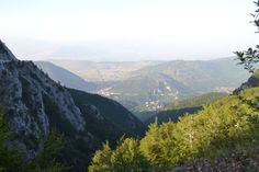 Town of Pescocanale on the mountaintop.  Looking into Avezzano and Fucine valley in the distance. July 2012