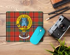 Rubber mousemat with MacLean clan crest and tartan - only from ScotClans