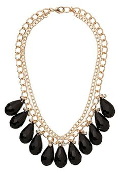 2 Row Rhinestone and Teardrop Necklace (original price, $18) available at #Maurices