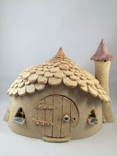Fairy house, chimnied roundhouse, oneoff, handmade, frost proof fairy house for the garden.