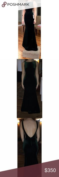 Jovani Prom Dress Dark green velvet prom or formal dress with mesh cutouts on the sides and a deep cut exposed back. Worn once and does not have any alterations. Open to offers and willing to negotiate price! 💚 Jovani Dresses Prom