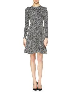 Lattice-Print+Reversible+Fit-and-Flare+Dress+by+Lela+Rose+at+Neiman+Marcus.