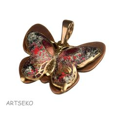 Butterfly pendant,c297, pendant with colorful butterfly,copper jewelry,enamel painted,romantic,gift for her,boho,butterfly,butterfly pendant by Artseko on Etsy