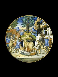 Plate with the bull of Perillus; on the reverse, arms of Lancierini Urbino, c. 1550 27.5cm (diameter) tin-glazed earthenware (maiolica)Collections: Online: Maiolica: Browse - Ashmolean Museum