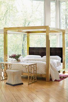 Bernhardt | Kensington Metal Canopy Bed with upholstered headboard panel