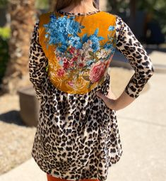 Floral Patchwork Leopard Hi Low Tunic Shop the look at www.shannasthreads.com     #fallfashion #modestfashion #shannasthreads #leopard #tunics