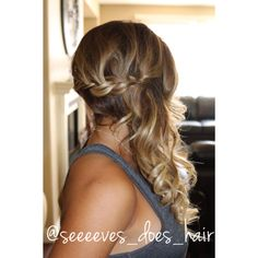 Bridal style-- French braid pulled to one side with loose curls. By Amber Sevey at the Salon Suites
