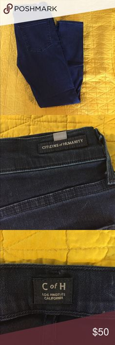 """Citizen for humanity dark blue skinny jeans 30 Citizen for humanity nice stretchy dark blue skinny jeans.  Tags say rocket petite high rise skinny size 30.  Great shape and have only been worn a handful of times. Inseam is 27"""". Citizens Of Humanity Jeans Ankle & Cropped"""