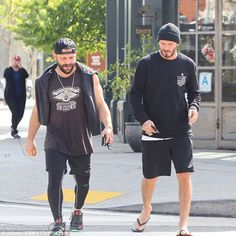 Workout bros! David was spotted with his personal trainer after his exercise session...