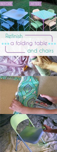 That old folding card table can still come in handy, so don't throw it out. Just revamp it (along with the chairs) to give it new life. How-to instructions here: http://www.ehow.com/how_12340172_before-after-refinishing-folding-card-table.html?utm_source=pinterest&utm_medium=fanpage&utm_content=inline