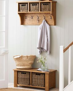Don't you wish your family hallway could look neat? Add some storage solutions and encourage them to keep things tidy through the link in our bio. Hallway Furniture, Living Room Furniture, Furniture Sets, Modern Furniture, Home Furniture, Hallway Coat Storage, Living Room Storage, Space Saving Furniture, Hallway Decorating