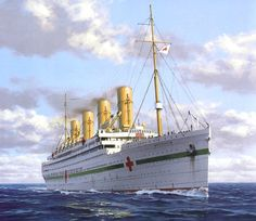 MaritimeQuest - HMHS Britannic (1914) The Art of Britannic the cruse ship pulling hospital ship duty.